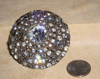 Vintage Signed R. Mandle Rhinestone Domed Brooch 1960's Jewelry 1011