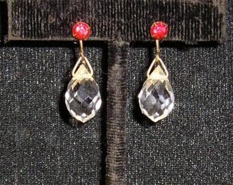 Vintage Art Deco Era Crystal Tear Drop Earrings With Red Rhinestones 1920's Screw Back Jewelry H25