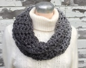 Silver Ombre Chunky Infinity Scarf  -  Hand Crocheted