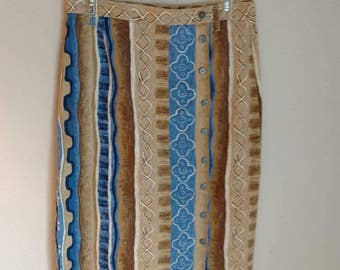 SKIRT DENIM Bohemian Tribal Moroccan D.A.K. Vintage Retro USA Made Country Western Stenciled Look 90's Style