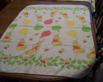 """Winnie the Pooh Baby Blanket Vintage Pooh with Balloons 28"""" x 36""""  Circa 1970s Soft Baby Nursery Crib Receiving Blanket"""