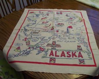 Vintage Alaska Tablecloth Souvenir Table Topper Circa 1950s Cities Attractions Map of Alaska Retro Souvenir Old Tyme Design