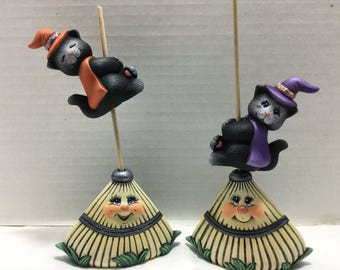 Halloween Ceramic Cats on Rakes