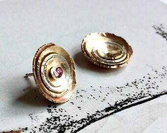 Unique Wife Jewelry Gift, Rose Gold Ear Jacket, Gold Ear Jacket, Earring Jackets, Pink Tourmaline, Gold Ear Jacket - Mendocino Earrings