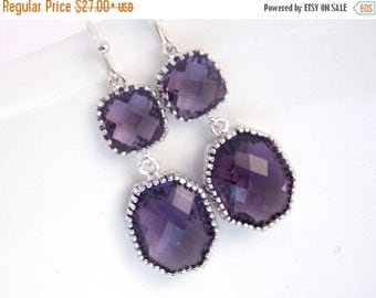 SALE Purple Earrings, Amethyst, Silver, Tanzanite, Glass Silver, Dangle, Wedding Jewelry, Bridesmaid Jewelry, Bridesmaid Earrings, Bridal Je