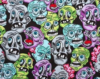 C347 - 140cmx100cm Cotton  Satin Fabric for sleep wear - Colorful Skull