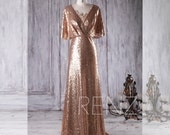 2017 Gold Sequin Bridesmaid Dress, V Neck Lace Wedding Dress, Ruffle Sleeves Prom Dress, Ruched Bodice Evening Gown Floor Length(HQ357)
