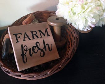 "Farm Fresh hand painted sign on 4"" x 4"" Canvas Block in Brown 