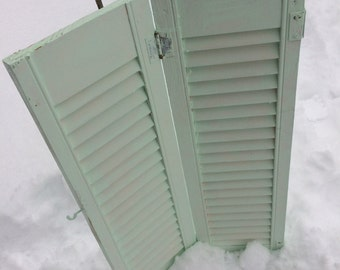 Antique wooden shutters 3 shabby green paint, Twin headboard, Repurpose decor.