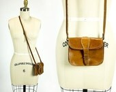 ON SALE Vintage British Tan Leather Top Stitched Teeny Tiny Structured Mini Crossbody Saddle Bag