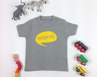 Kids Clothes Grey T-shirt Welsh Text Mwddrwg Yellow Mischievous