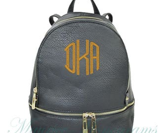 Personalized Black Soft Textured Synthetic Leather Backpack Purse FREE Monogram