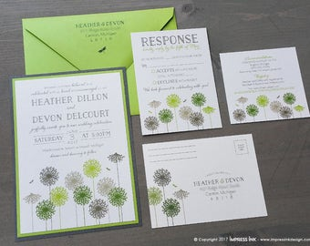 Dandelions Wedding Invitation Sample | Flat or Pocket Fold Style