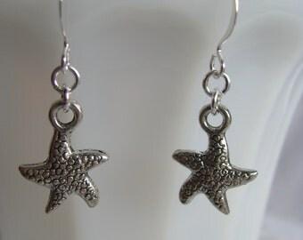 Starfish Earrings, Silver Earrings, Minimalist Earrings, Starfish Dangles, Simple Earrings