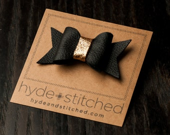 "Black and Gold Glitter Bow, One 2.5"" Handcrafted Leather Bow, Hair Accessory"