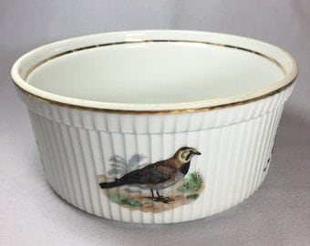 Vintage L Lourioux Porcelain Souffle Dish Le Faune French Serving Bowl Cookware Wildlife Birds Made In France