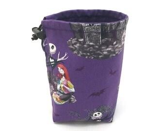 Purple Nightmare Before Christmas Dice Bag, Draw String Bag, Free Standing, Revisable, Gamer Bag, D&D Dice Bag, Makeup Bag, Small Gift Bag
