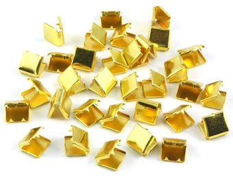 500 Pieces 8*8mm Gold Flat Ribbon Clamp End Crimp [5/16 inch]  (J-EC8)