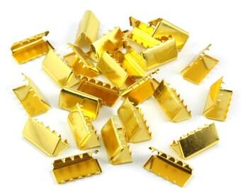200 Pieces 16*8mm Gold Flat Ribbon Clamp End Crimp [5/8 inch]  (J-EC16)