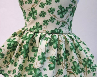 Lucky Shamrocks, St. Patrick's Day Sleeveless Dress for Your 18 Inch Doll