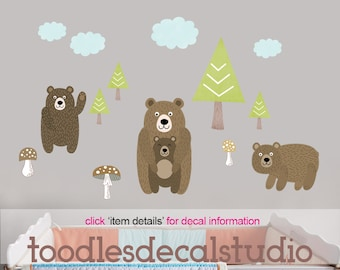 Bear Wall Decal Nursery Art, Fabric Wall Decal, Bears Fabric decals, Nursery Bears, Forest Friends decals, Woodland Decals, Toadstool Decals