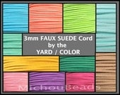 3mm Faux Suede Cord - 3x1.5mm Flat micro Fiber Faux Suede Leather Ribbon Jewelry Cord By the Yard - Pick COLOR / LENGTH - Usa Instant Ship