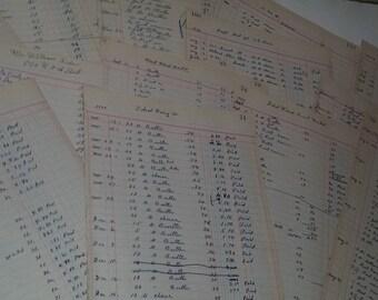 Antique paper 5 1930's Dairy Ledger book pages handwitten entries columns account Vintage ephemera lot altered art scrap supplies