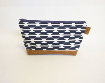 Navy and white Aztec makeup bag with cognac faux leather