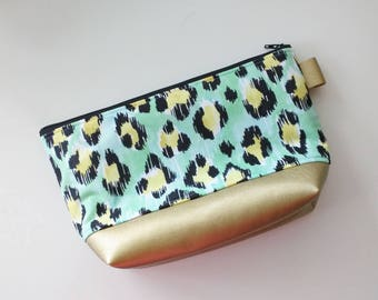 Aqua and gold leopard makeup bag