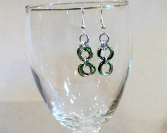 Green Rosebud Chainmaille Earrings