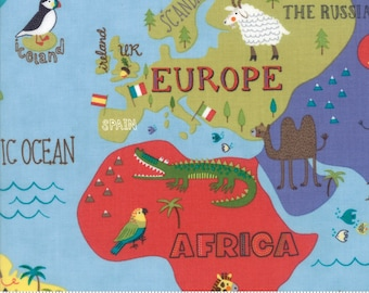 Colorful Children's World Map Fabric - Hello World by Abi Hall from Moda - 1 Yard