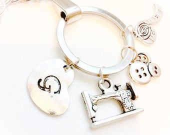 Sewing Key Chain•Keychain•Keyring•Gift for Seamstress•Birthday Gift Idea•Gift for Her•Initial Charm•Mother's Gift