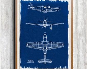 NAA P-51B Mustang A4 Hand coated traditionally made aeronautical Blueprint cyanotype