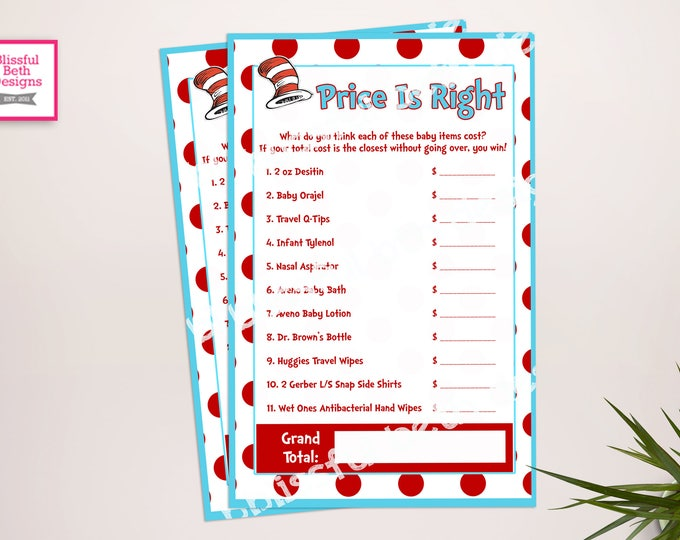 SEUSS BABY GAME Seuss Price Is Right Baby Shower Game, Seuss Game, Seuss Baby Game, Seuss Baby Shower Game, Price Is Right Game,