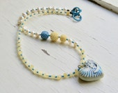 Under the Lemon Tree - handmade artisan bead necklace in lemon yellow and mediterranean sky blue, citrine and freshwater pearls - Songbead