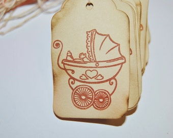 35 Baby shower favor tags with Carriage stroller. Rustic. Vintage inspired.coffee stained.  party decor. shower wish tree cards