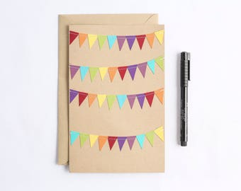 Large Greeting Cards Birthday Card Bunting Flag Card Rainbow Stationery Kraft Paper Card Oversized Notecard Cheer Up Card From a Group
