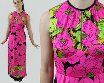 vintage 1960s neon pink yellow & black floral keyhole bust sleeveless hostess maxi dress psychedelic pop art flowers fitted 60s Small/Medium