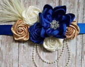 Royal blue gold and ivory sash for bridal or maternity