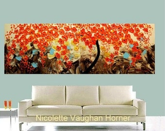 """SALE 72"""" Acrylic Abstract painting,Original contemporary gallery art,Tree Of Life Red Blossoms by Nicolette Vaughan Horner"""