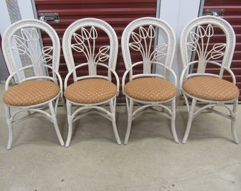 TIPTOE Through THE TULIPS / Adorable Set Of 4 Rattan Bistro Style Chairs / Tulip Backs / Clean Upholstery