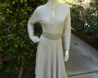Vintage 1970's Ronnie Heller for MJ Oatmeal Textured Knit Dress - Size 4/6