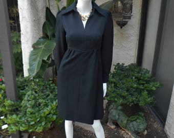 Vintage 1960's Shannon Rodgers for Jerry Silverman Black Dress - Size 8