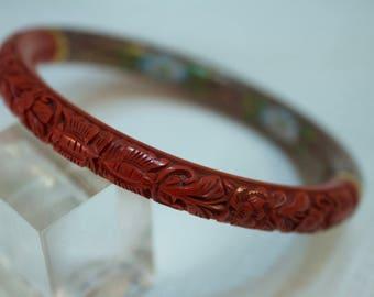 1980's Carved Cinnabar and Cloisonne Bangle Bracelet