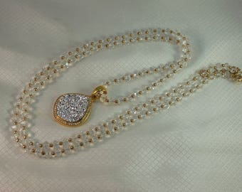 1980's Joan Rivers Classics Crystal Beaded Necklace with Faux Silver Pyrite Pendant
