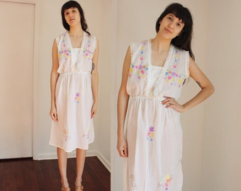 Vintage Floral Sheer White Sundress/ Nigh gown XS/S