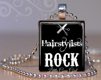 Hairstylist Rock Necklace Pendant - Cute gift for Hairdresser - Beautician Jewelry - Beauty School Scrabble Tile Charm