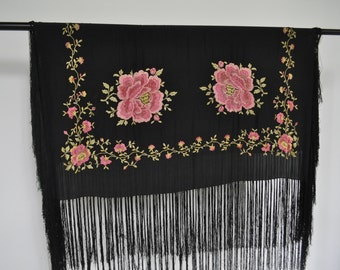 1920s silk shawl amazing embroidery large  15%discount w code