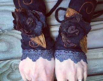 Faerie Cuffs-woodland cuffs-  forest gloves- Cuffs- Folkowl Cuffs - rose gloves-Forest Cuffs - Faerie Cuffs - armwarmers-steampunk
