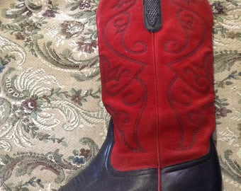 Red leather western boots